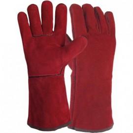 Gants de soudeur T10 35cm rouge cousu fil polyester