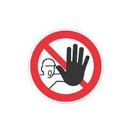 Autocollant defense de circuler avec main 20 cm