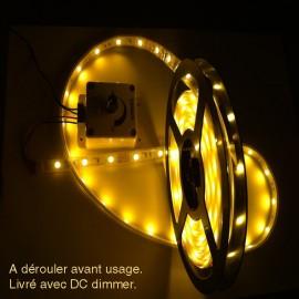 Lampe ledstrip blanche 12v 4m+dimmer+alimentation 220v 1,5A