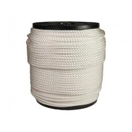 Corde nylon en  6mm blanc 3 torons 220m
