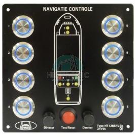 Indicateur de feux (8) 24v+ test + dimmer boutons  inox rvs