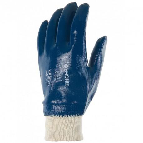 Gants dame nitril bleu NBR327 T8 poignet tricot