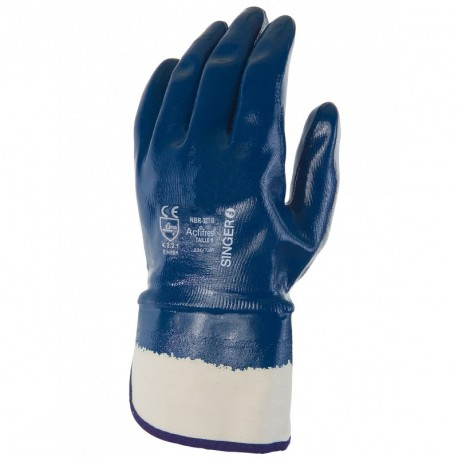 Gants dame nitril bleu NBR327T T9  manchette