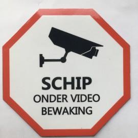 Magnet SCHIP ONDER VIDEO BEWAKING 9.5cm x 9.5cm