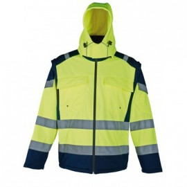 Veste soft shell   XL jaune/marine a bandes reflechissantes