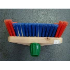 Brosse rylsan douce armature bois rouge/bleu avec fixe manche