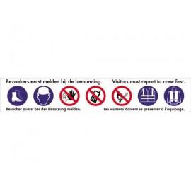 Panneau 7 symboles 4 langues 128 cm x 23cm-