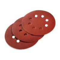 Disque abrasif en corindon de 125 mm g 40 boite de 50 pieces (8 trous)